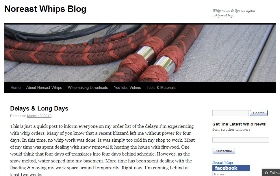 Noreast Whips Blog