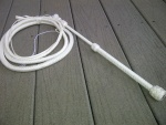 6 ft white stockwhip with white fibreglass handle.